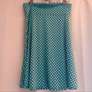 NEW LULAROE Azure Skirt Green and Black Print 2XL